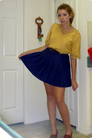 mustard thrifted shirt - navy pleated thrifted skirt
