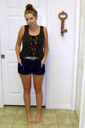 light blue lace thrifted belt - denim Forever 21 shorts