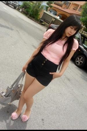 Miss Selfridge blouse - Topshop shorts