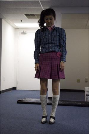blue plaid shirt JCrew shirt - hot pink skirt