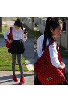 red Marc by Marc Jacobs bag - ruby red Orbit boots - white DIY shirt