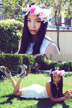 Jeffrey Campbell heels - Princess Polly dress - floral crown DIY accessories