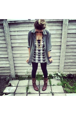 brown combat boots - geometric print dress - jacket - black tights