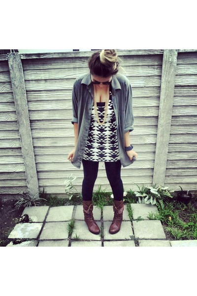 brown combat boots geometric print dresses jackets