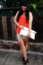 DIY bag - DIY shorts - Jessica Simpson sandals - Old Navy top - Tiffany Mei neck