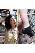 light yellow striped Dear Creatures dress - black silver-heeled Senso boots