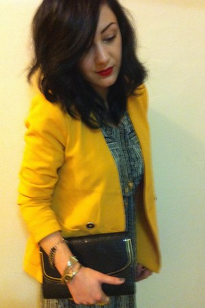 yellow blazer - gray Silence & Noise dress - vintage clutch bag