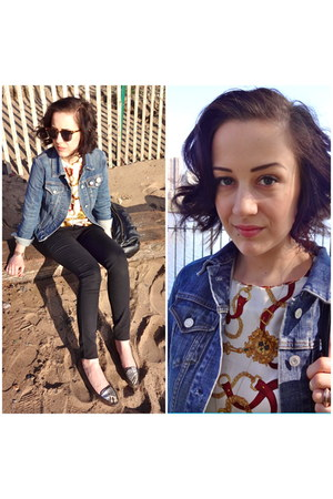 sky blue denim Gap jacket - tortoise shell sunglasses - vintage blouse