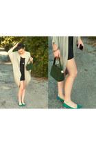 u-back dress - vintage velvet bag - cardigan - pointy teal flats