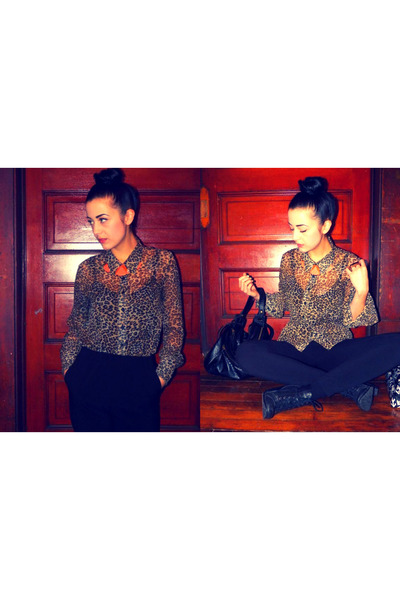 camel sheer leopard H&M blouse - black heeled Urban Outfitters boots