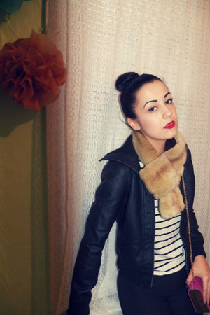 faux-fur UO scarf - faux leather Forever 21 jacket - striped H&M shirt