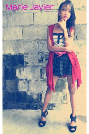 red blazer - ivory Natasha blouse - black Parisian heels