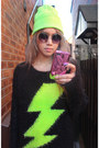 Black-neon-lightning-primark-sweater-chartreuse-neon-zip-h-m-dress