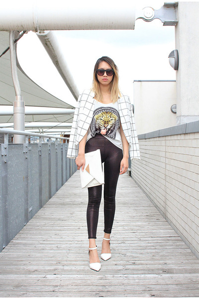 H&M blazer - clutch silver Zara bag - faux leather Topshop pants