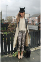 black ears Japan hat - beige Topshop boots - beige Topshop coat