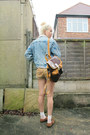 Light-blue-vintage-coat-dark-brown-leather-vintage-bag