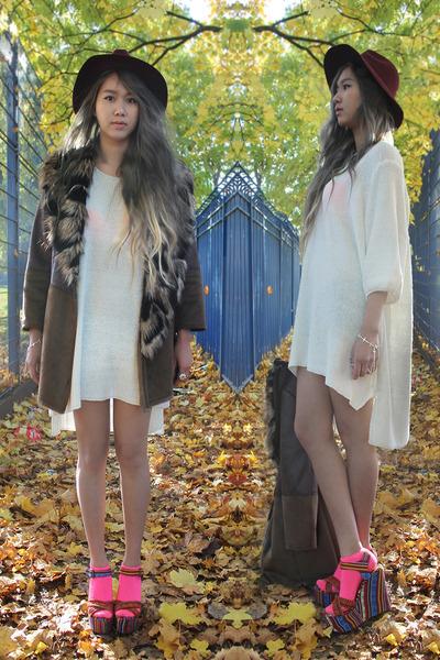 neon Primark socks - faux fur collar River Island coat - bow H&M hat