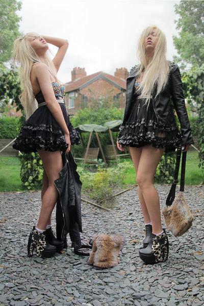DIY boots - Topshop jacket - fur DIY bag - ruffles American Apparel skirt