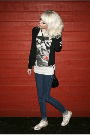 black wct adidas jacket - white chuck taylor converse all stars shoes