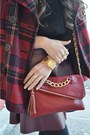 Black-cut-out-ankle-merona-boots-brick-red-plaid-old-navy-coat