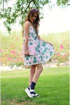 light pink pom pom trim Missguided dress - navy Soxxy socks
