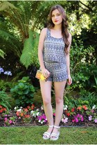 navy Charlotte Russe top - silver clear Magid purse