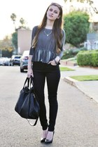 black Bullhead Denim Co jeans - black pointed-toe Victorias Secret heels