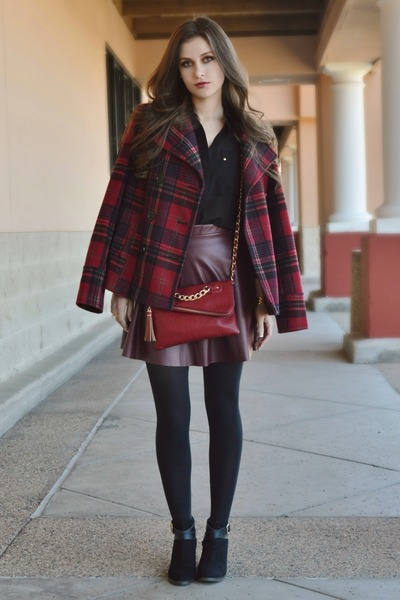 brick red plaid Old Navy coat - black cut-out ankle merona boots