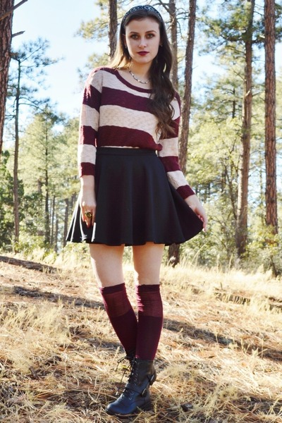 crimson knee high xhilaration socks - black combat Charlotte Russe boots
