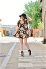 Black-floral-staring-at-stars-dress-black-floppy-david-young-collection-hat