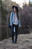 black moto H&M pants - black Urban Outfitters hat - light blue Old Navy jacket