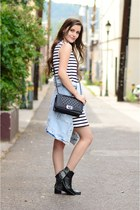 black Grey City boots - white striped Zara dress - light blue denim Zara jacket
