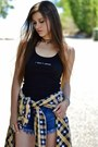 Light-yellow-flannel-beta-apparel-shirt-blue-denim-forever-21-shorts