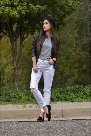 white skinny Express jeans - black bowler Urban Outfitters hat