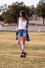 Black-t-shirt-jeans-bag-sky-blue-charlotte-russe-shorts