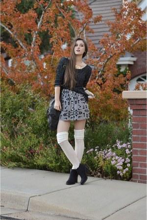 black Target boots - black knitted garage sweater - black t-shirt & jeans bag