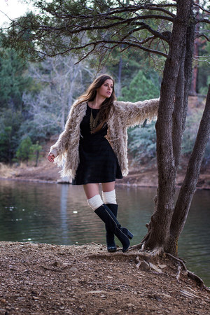 black free people dress - black Target boots - beige shaggy free people jacket