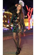 black platform Charlotte Russe boots - gold sequin Arden B dress