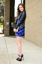 blue chevron Charlotte Russe skirt - black faux leather Charlotte Russe blazer