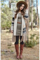 cream sweater American Eagle cardigan - brown heeled Lucky Brand boots
