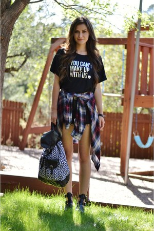 black crop Breakups to Makeup top - crimson plaid garage shirt