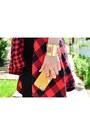 Red-plaid-bdg-shirt-black-midi-bodycon-charlotte-russe-skirt