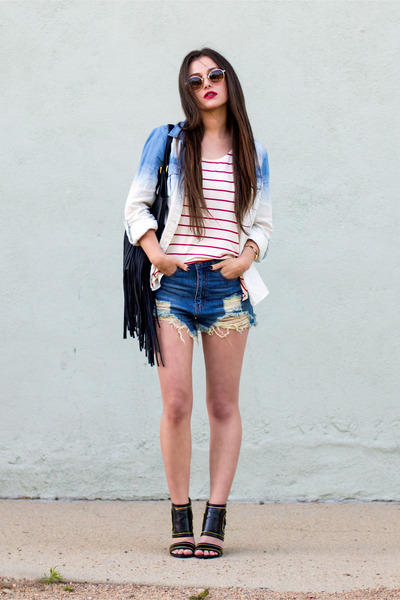 light blue Charlotte Russe top - black Charlotte Russe purse