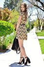 Tan-charlotte-russe-dress-black-peep-toe-zara-heels