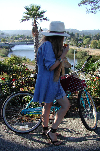 Thrift Store coat - Thrift Store hat - thrifted DKNY shorts - Steve Madden shoes