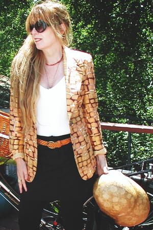 italian jacket - H &M leggings - Forever21 sunglasses - Navaho Indians necklace