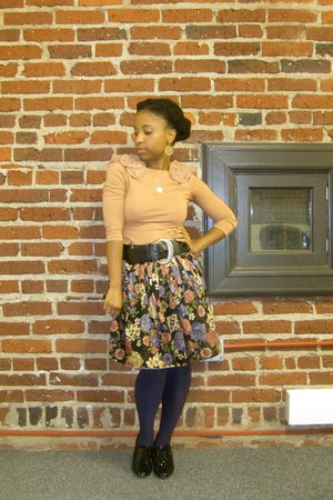 light pink H&M shirt - purple floral print Nordstrom BP skirt - black brogues pa