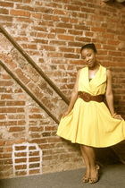 yellow vintage dress - brown shoes - brown Urban Outfitters belt