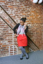red Urban Outfitters skirt - white Target shirt - black H&M cardigan