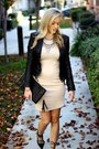 Beige-forever-21-dress-black-blank-nyc-jacket-black-purse